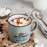 Gluten free hot chocolate served with marshmallows into a mug
