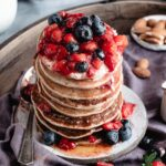 Close up shot of pancakes stack