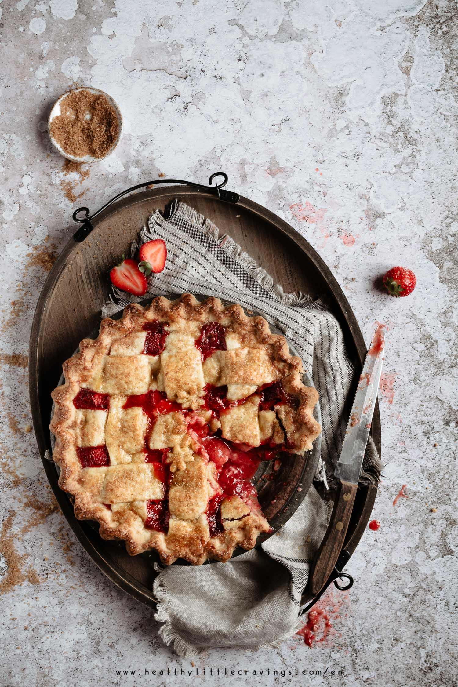 Delicious strawberry pie onto a tray ready to be served