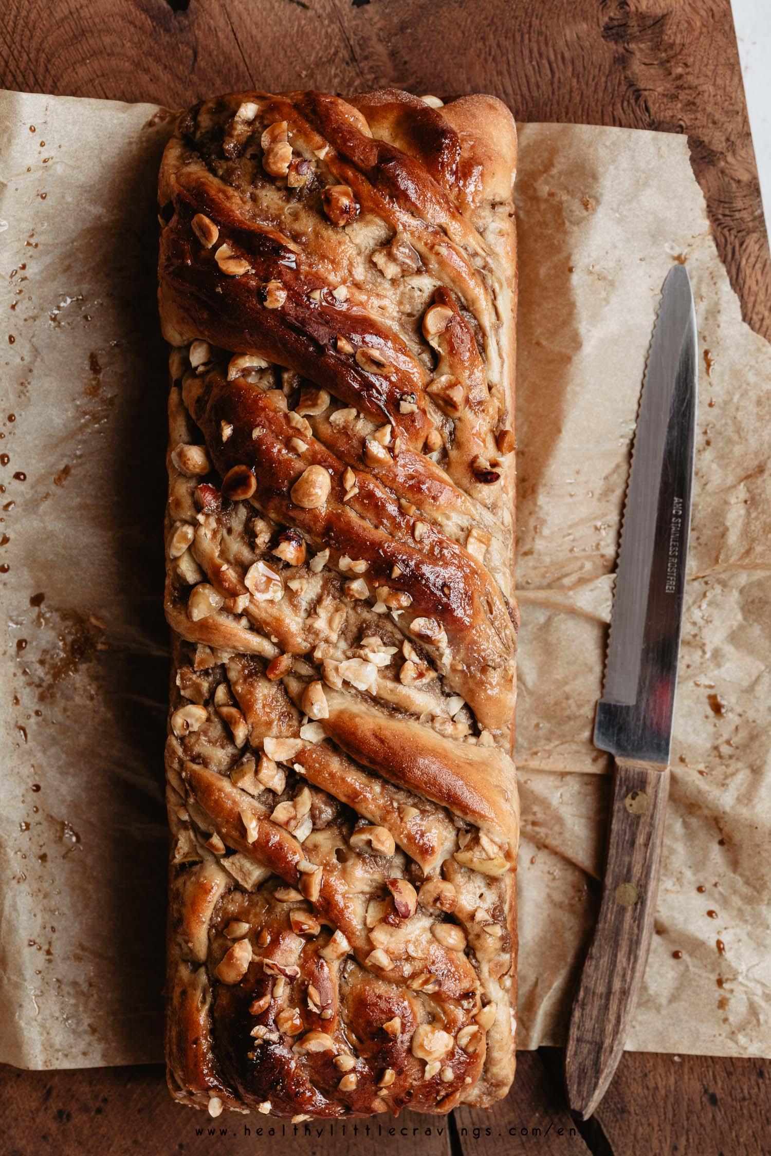 Apple cinnamon babka flat-lay