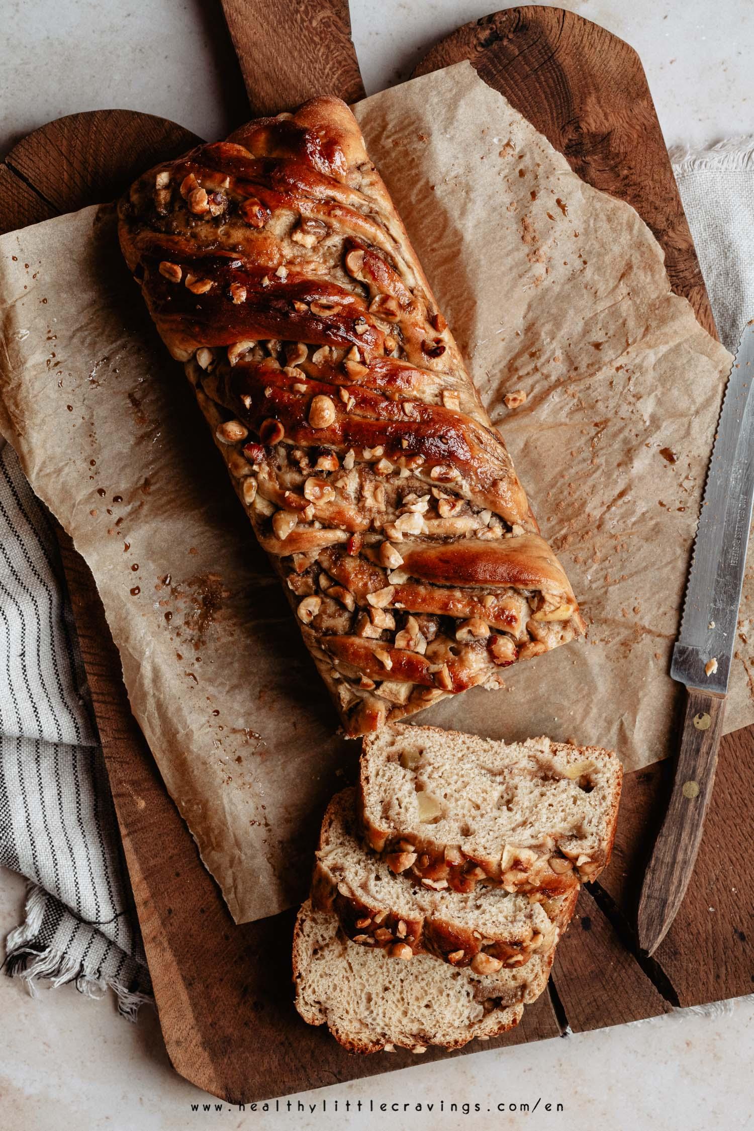 Homemade apple cinnamon babka on cutting board