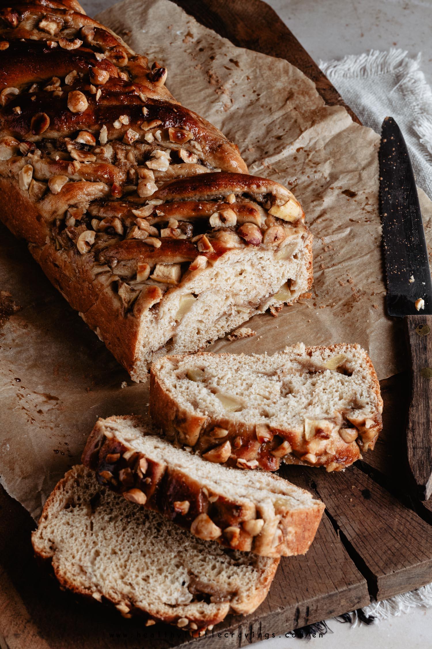 Slices of apple cinnamon babka on cutting board