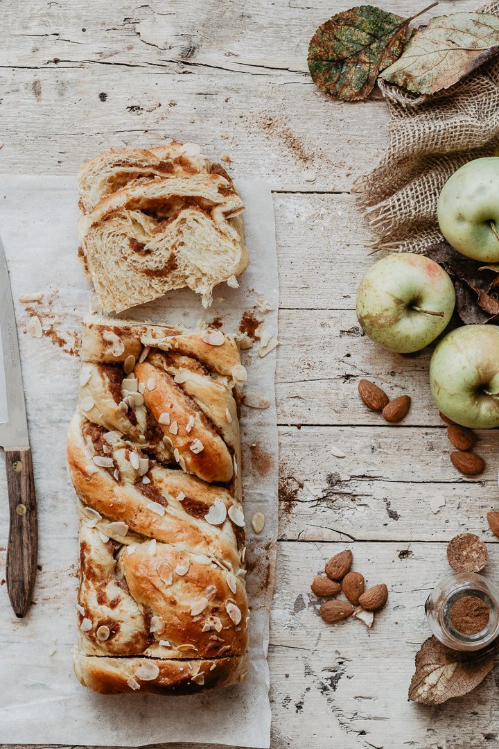 Slices of my babka recipe on a wooden table