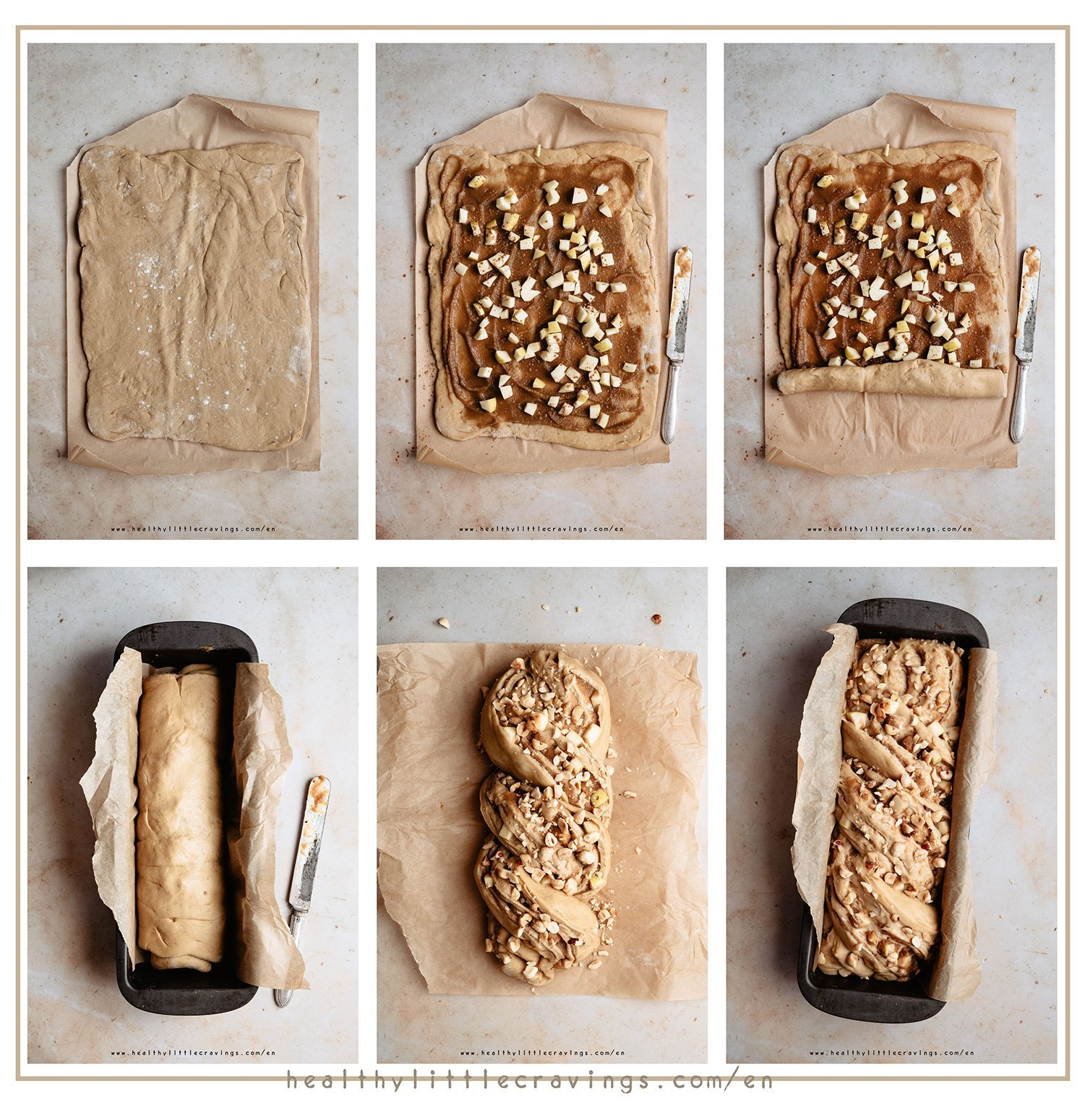 Step-by-step how to make babka with apple and cinnamon