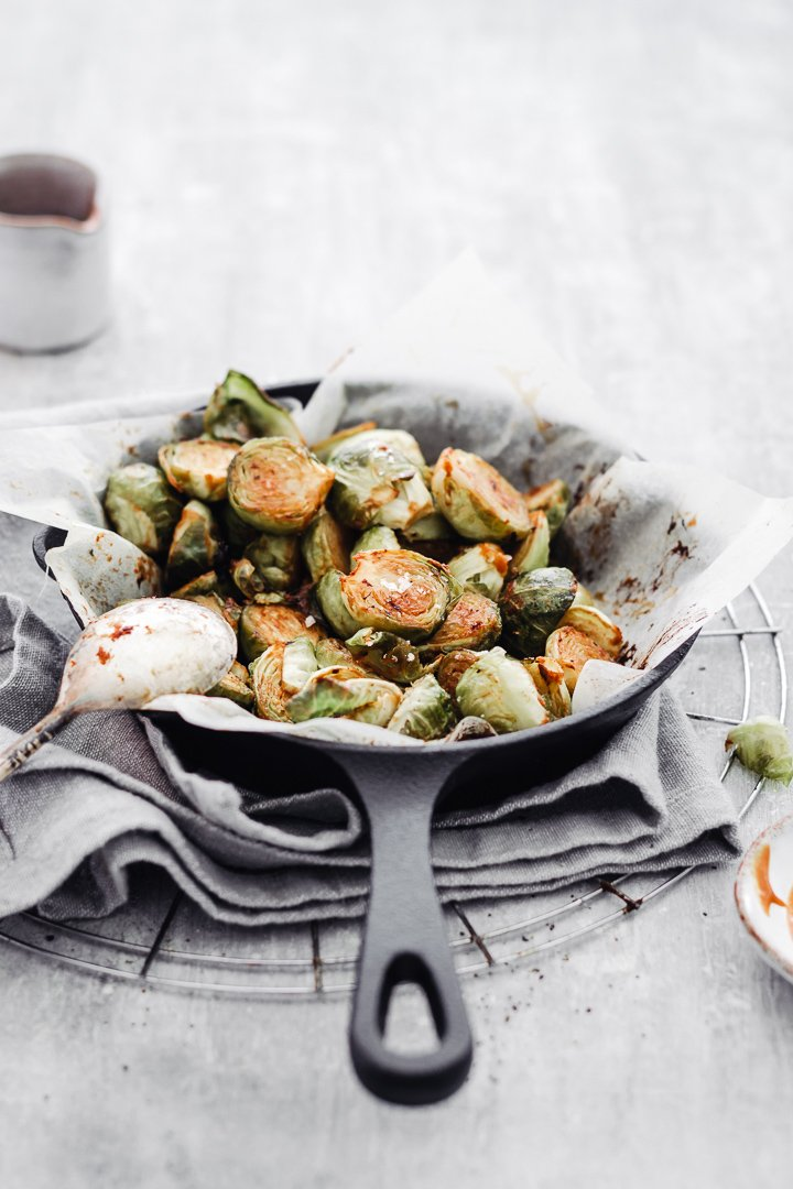 How to make roasted brussel sprouts with maple syrup & mustard dressing
