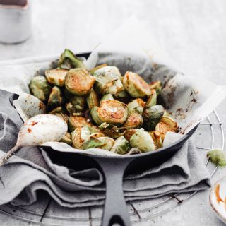 Vegan oven roasted Brussels sprouts with mustard dressing