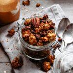 Pumpkin granola from scratch into a jar