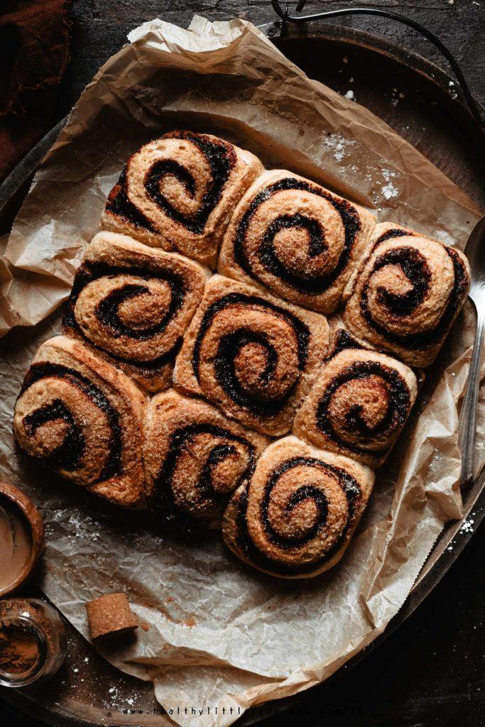 A tray with 9 healthy cinnamon rolls