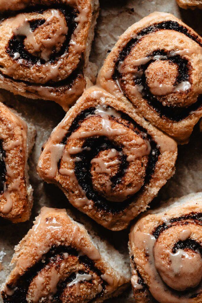 Macro shot of healthy cinnamon rolls with chocolate filling