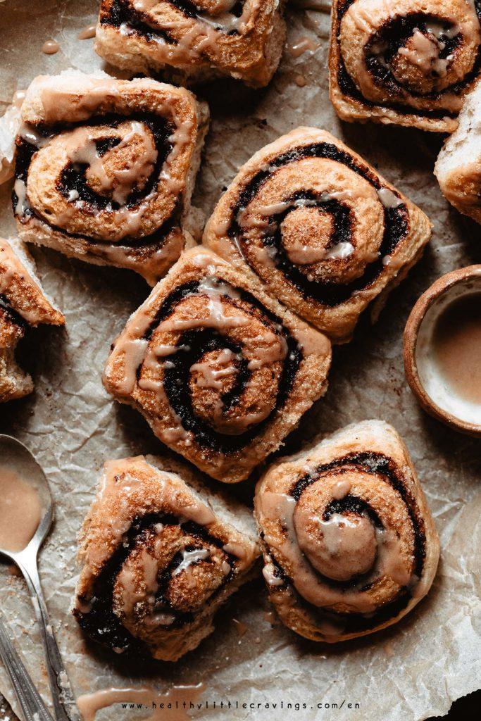 Vegan cinnamon rolls with chocolate and orange filling