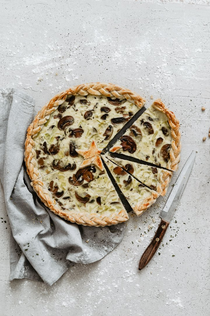 Easy light mushrooms leek quiche, lighter thanks to the ricotta!