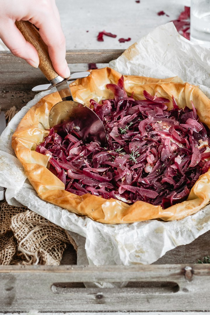 Tasty and healthy savory phyllo tart with red onions and cream cheese for your Christmas lunch