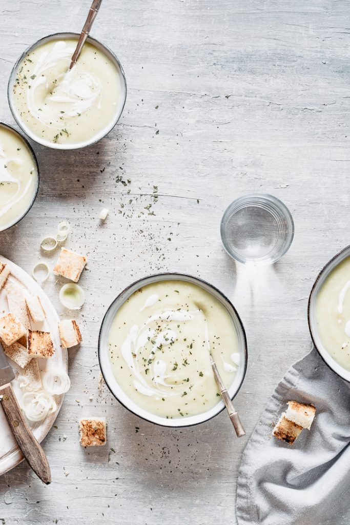 Super creamy velvety potato leek soup with vegan option