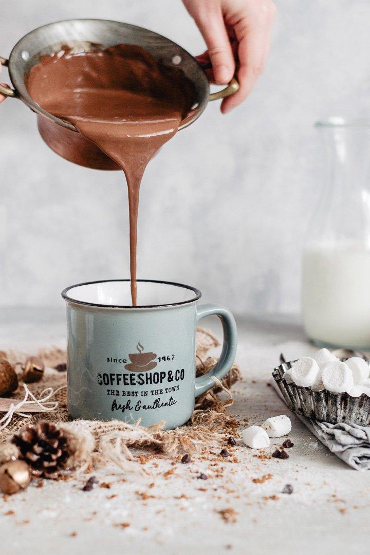 Action shot: pouring creamy hot chocolate into a mug