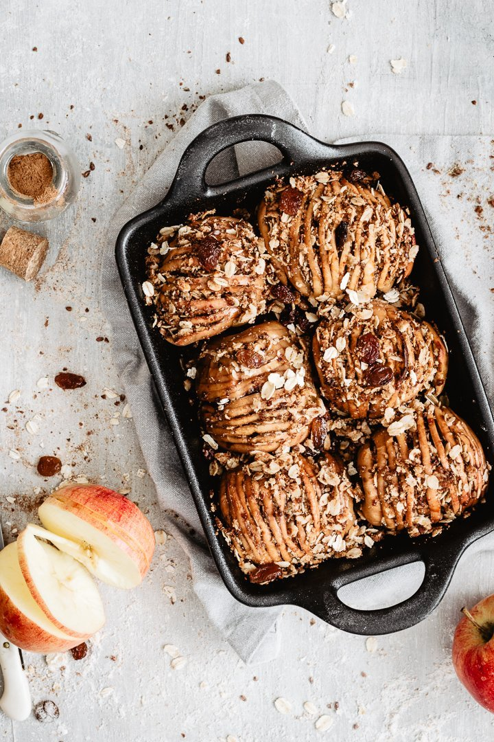 Healthy apple dessert: hasselback apples