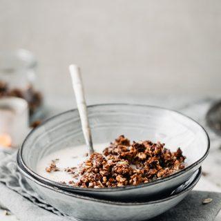 Gluten free vegan healthy chocolate orange granola