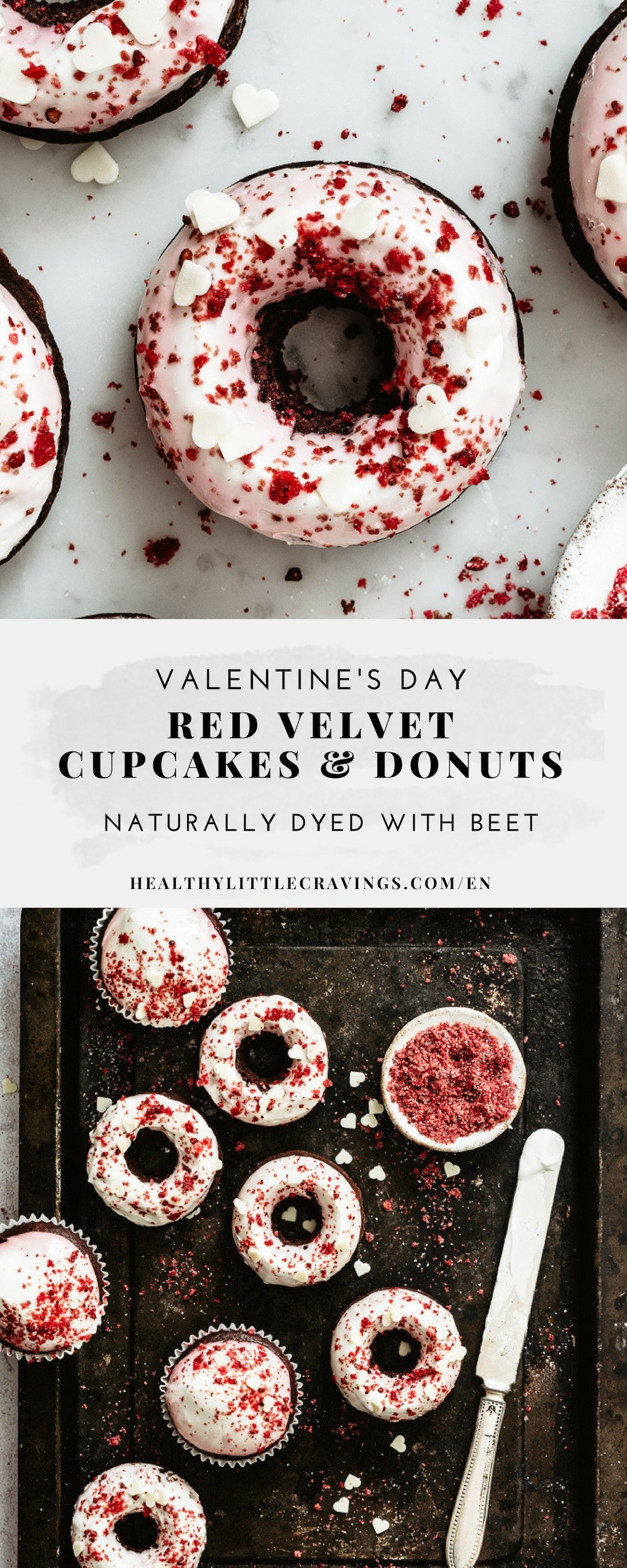 Easy red velvet cupcake recipe + donuts to pin on Pinterest
