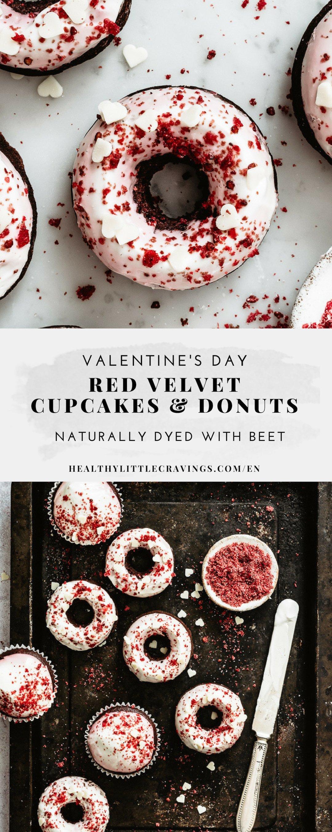 Easy red velvet cupcake recipe + donuts to pin on Pinterest