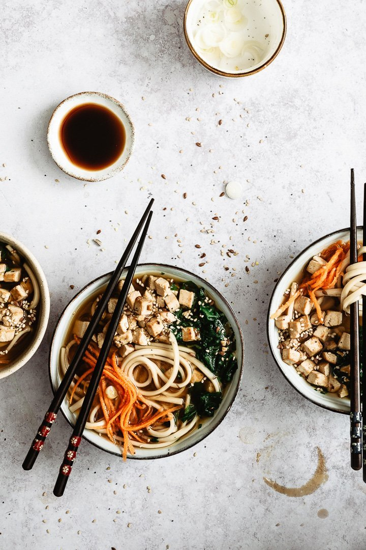 Vegan miso soup with udon noodles served in a bowl