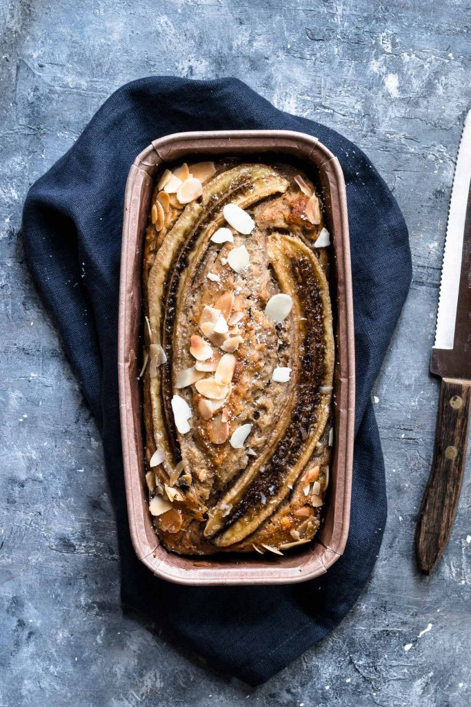 Delicious easy banana bread without eggs cooling onto a napkin
