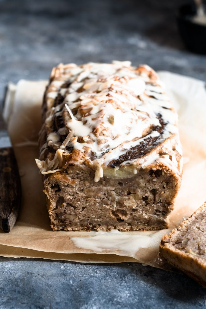 Eggless banana bread with walnuts and almond butter