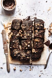 My healthy brownies with black beans served with chocolate on top