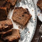 Close up of a slice of this moist banana bread recipe