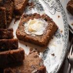 45° photo of moist banana bread recipe
