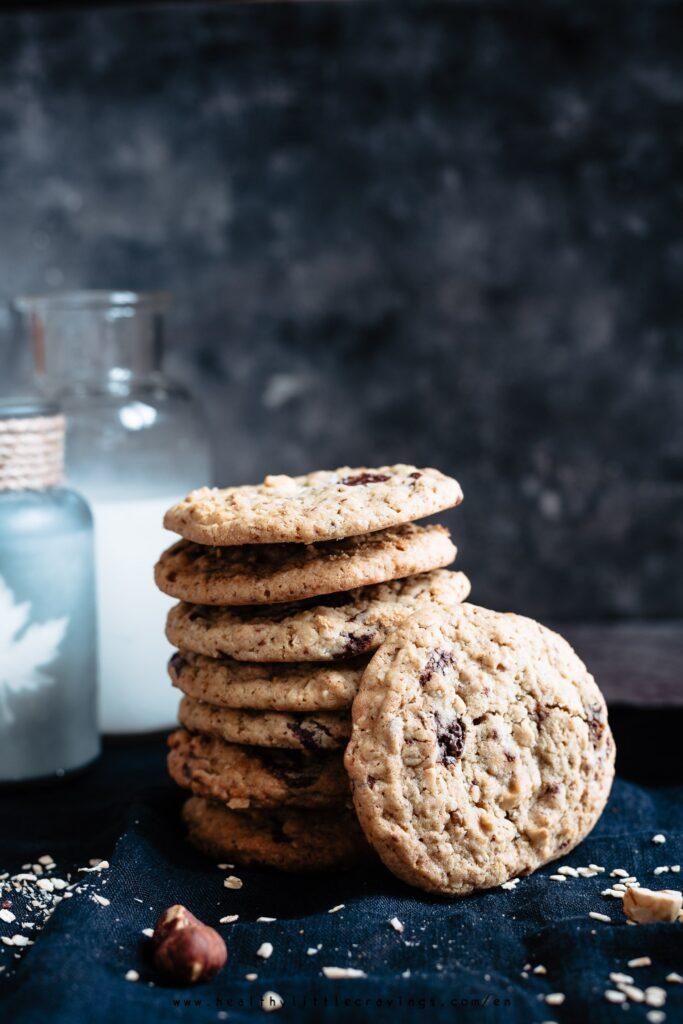 A stack of chewy choc chip cookies