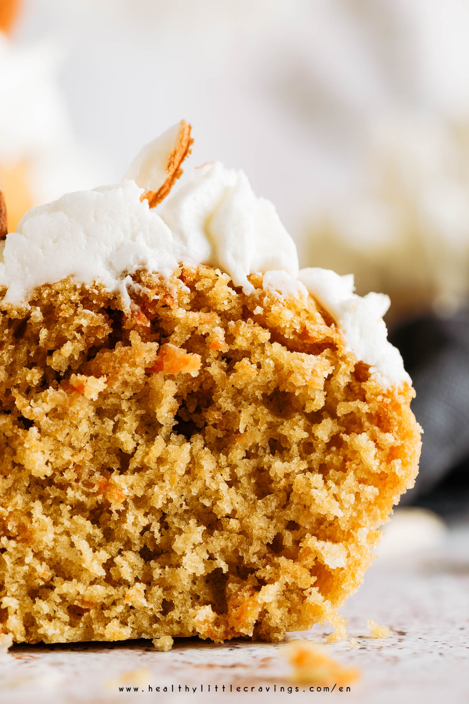 The texture of my easy healthy carrot cake cupcakes