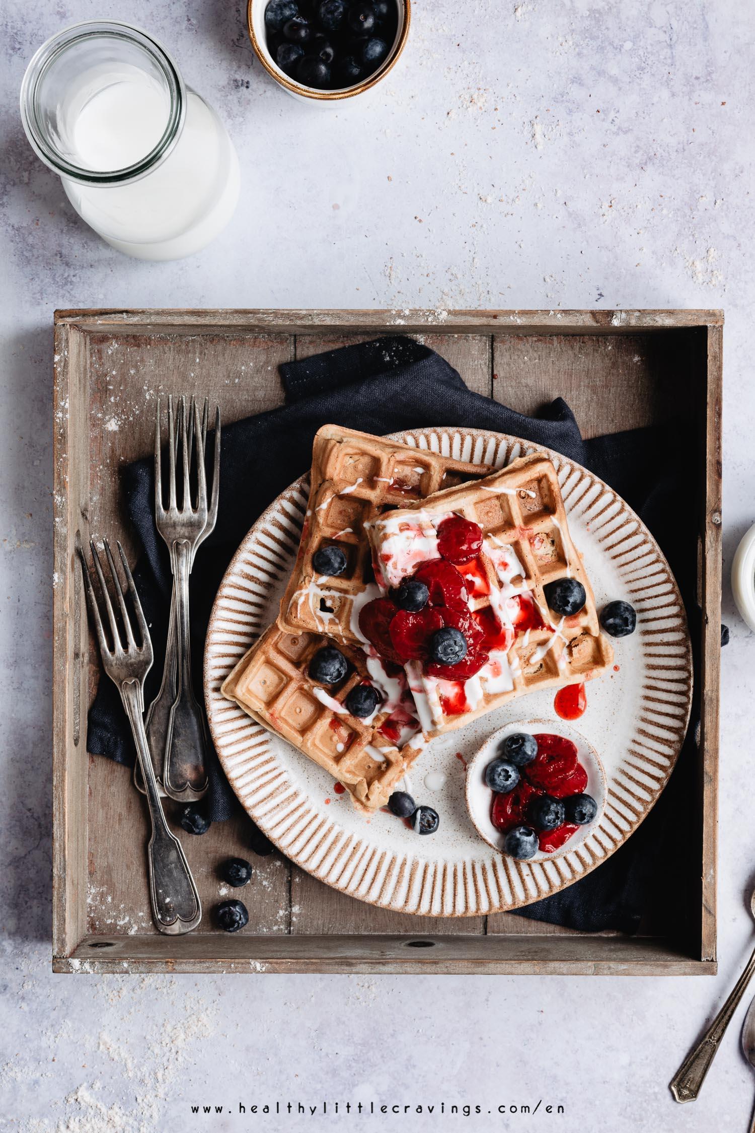 Waffles senza burro e senza lievito per dolci per intolleranti al lievito