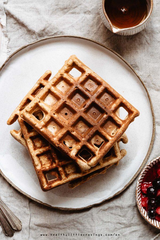 Whole wheat no baking powder powder waffles without toppings