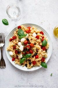 Mediterranean pasta salad with tomatoes, mozzarella and tuna