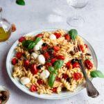Close up shot of pasta salad