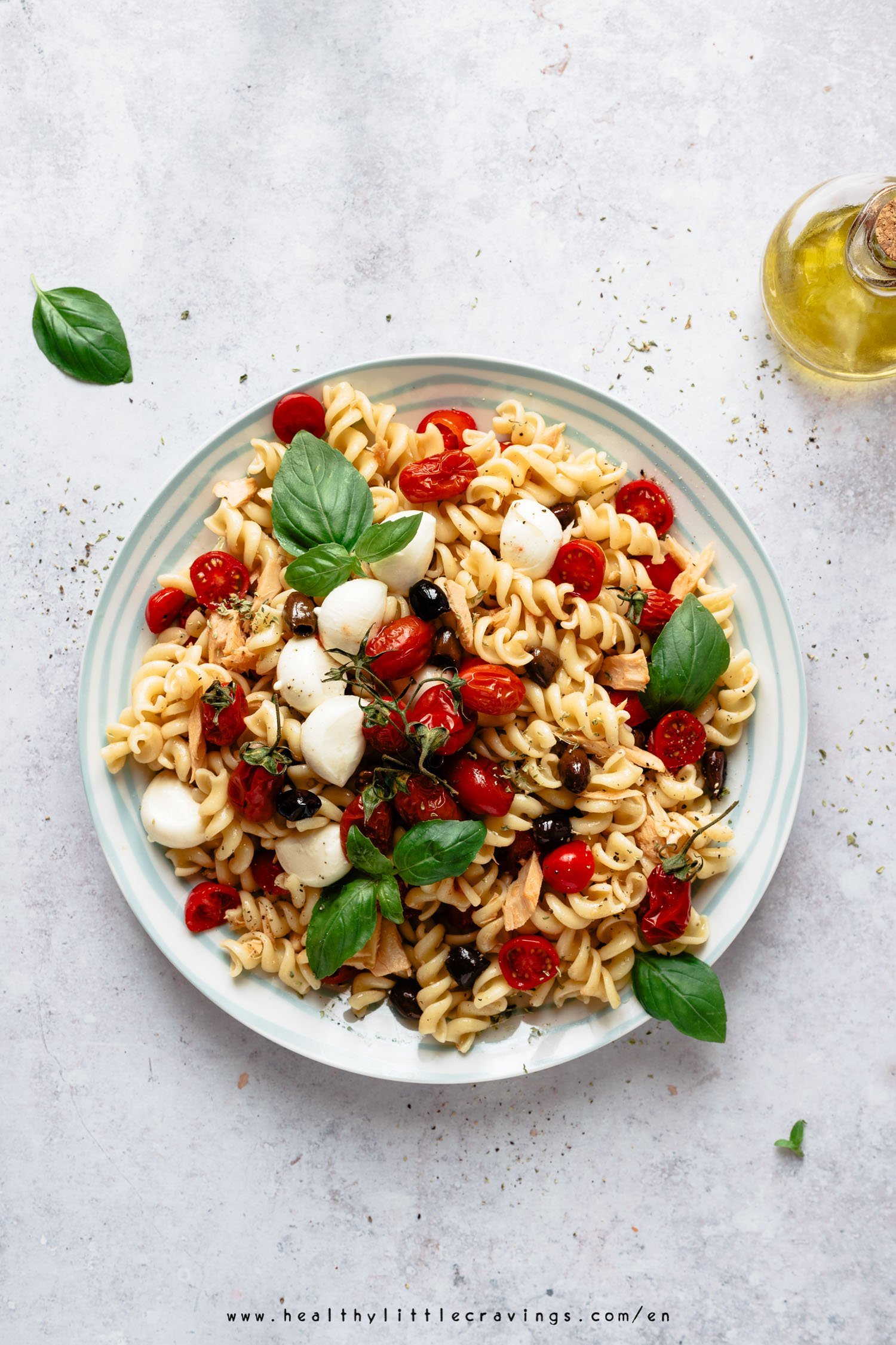 Easy Mediterranean pasta salad on a plate