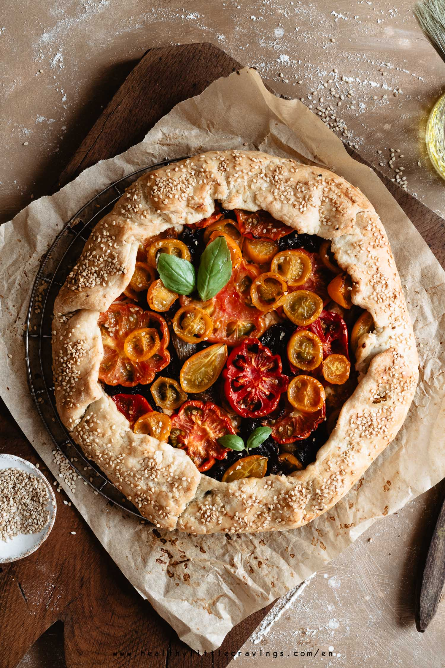 Tomato galette with caramelized onion and goat cheese