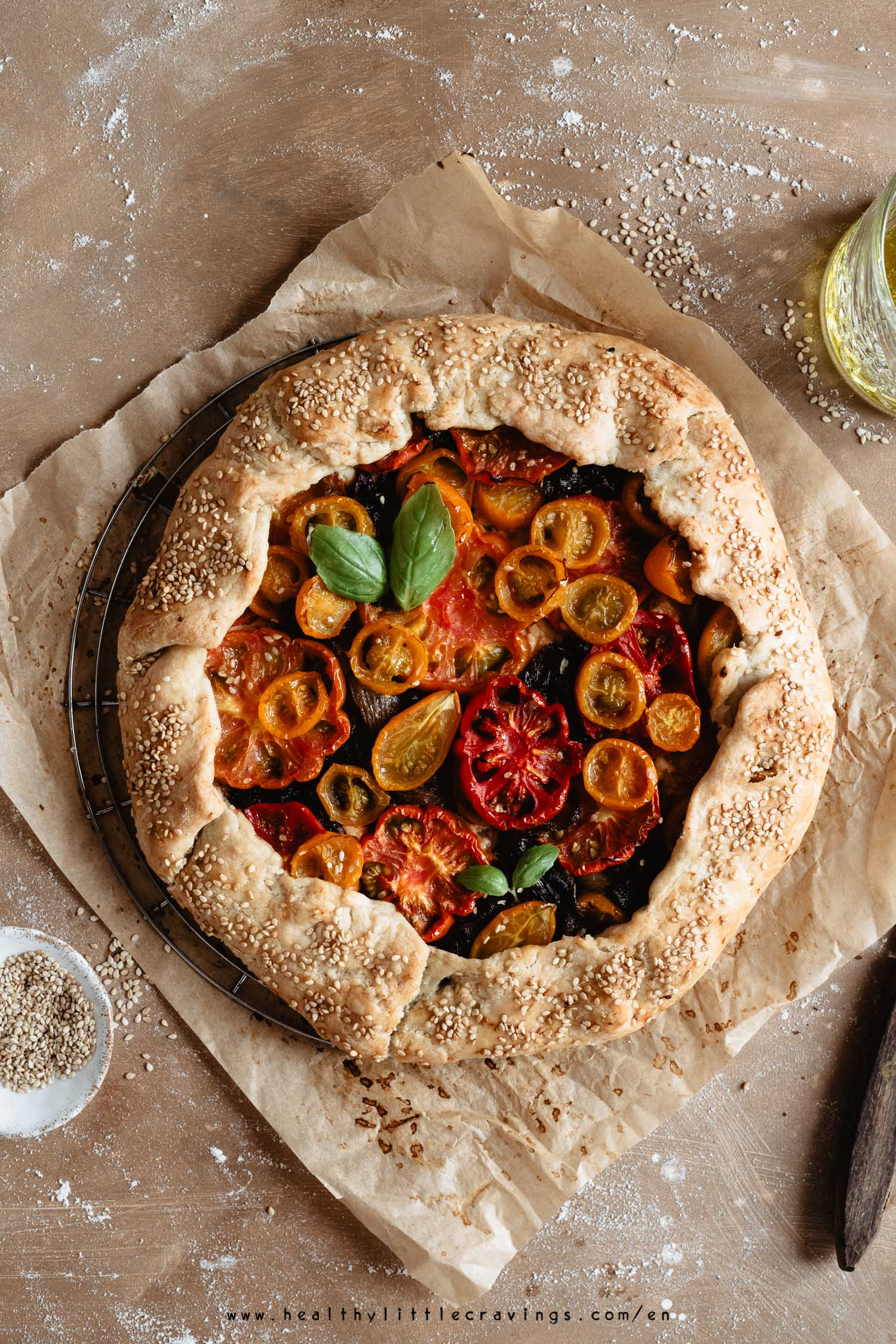 Easy tomato galette on parchment paper