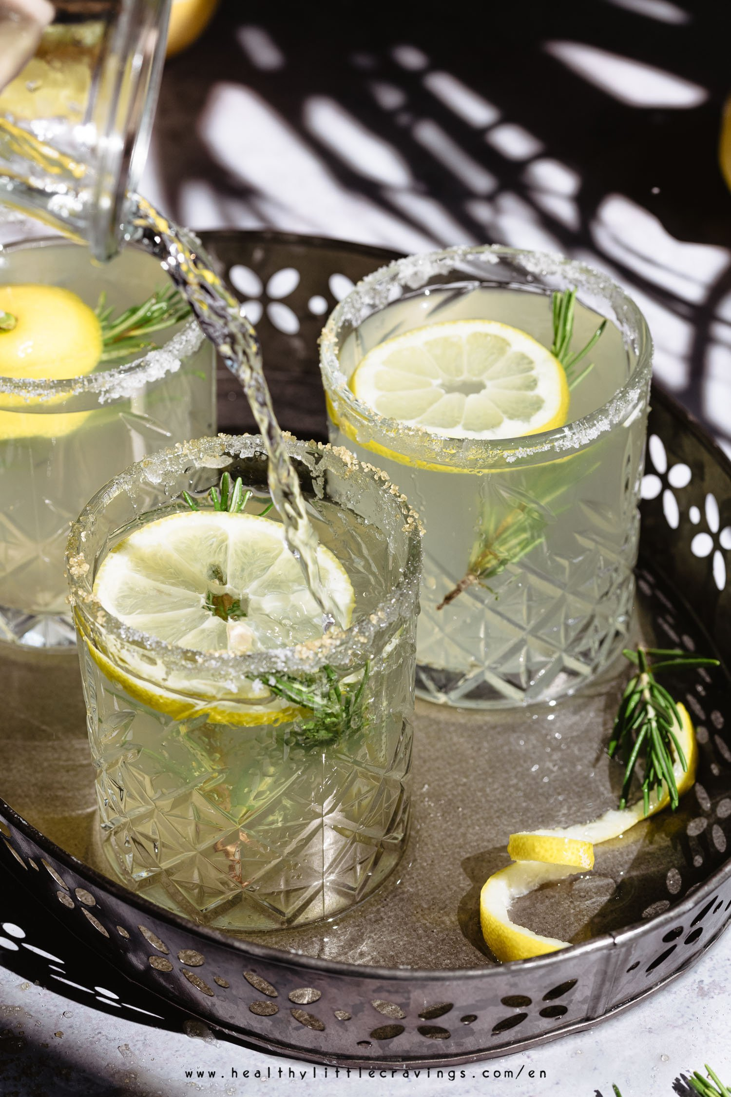Perfect beverage for summer: a lemonade with rosemary