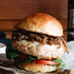 Healthy grilled turkey burger with caramelized onions