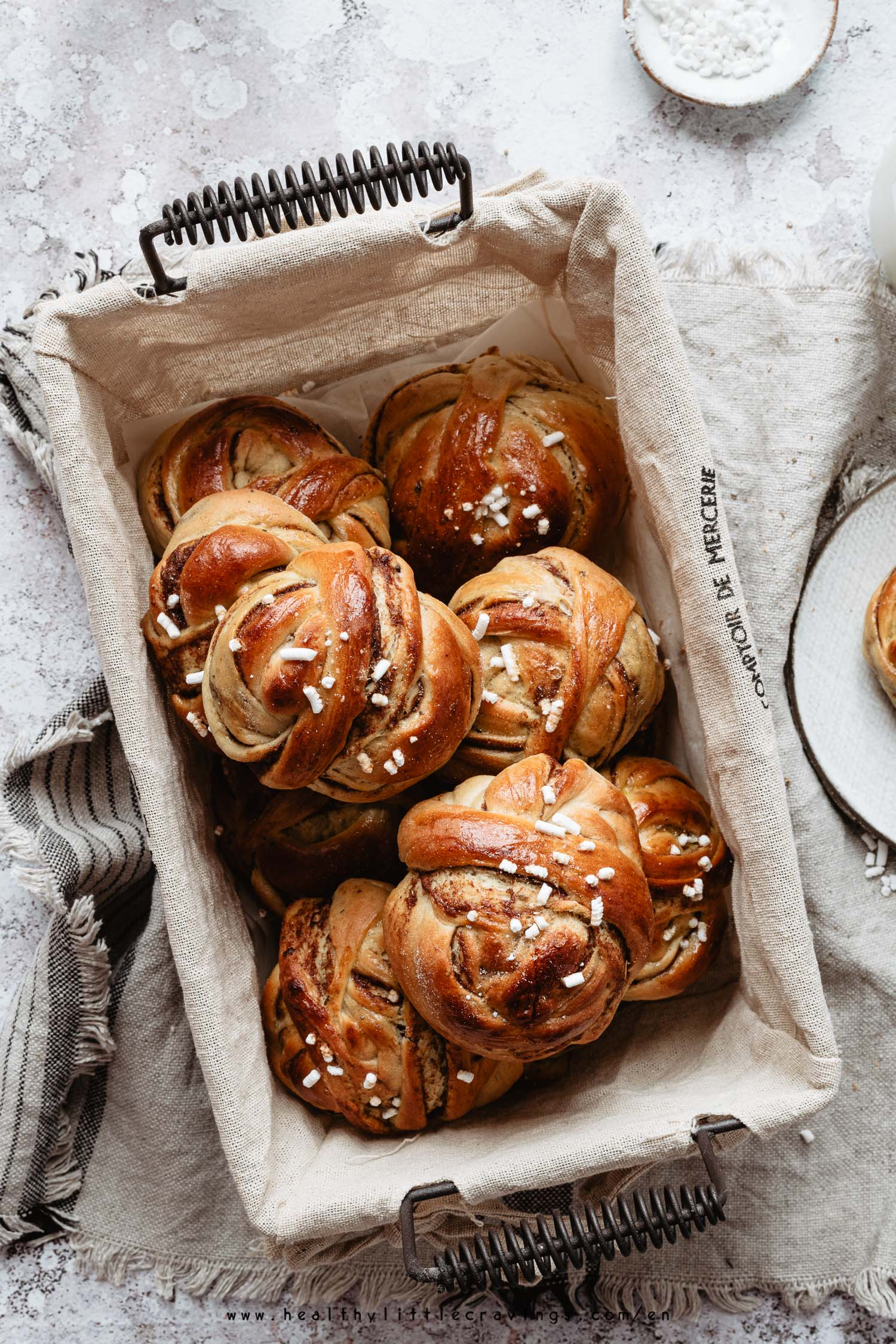 Swedish cardamom buns into a basket