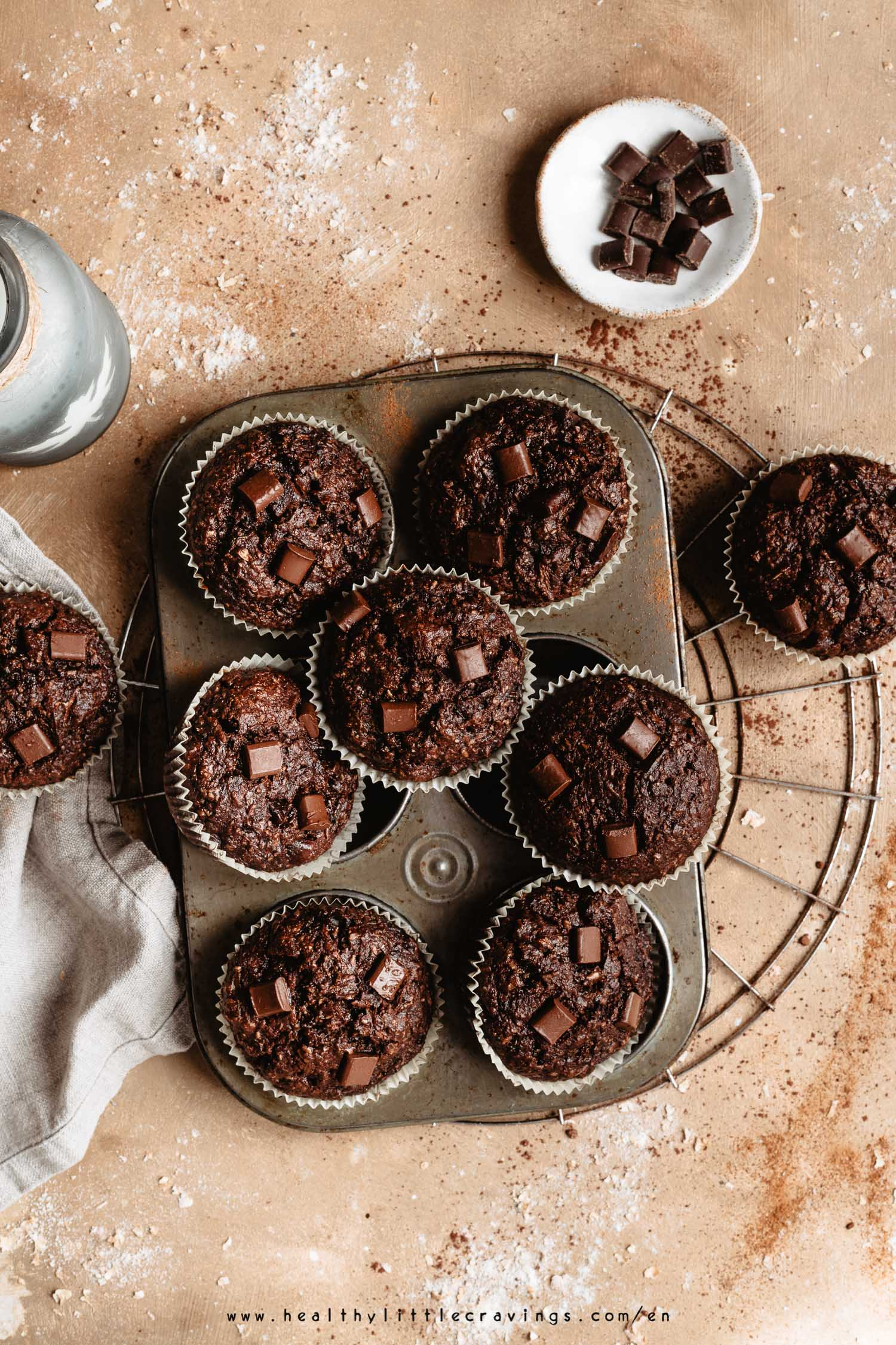 Nine zucchini muffins with chocolate  into muffin tin