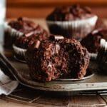 The inside of zucchini chocolate muffins