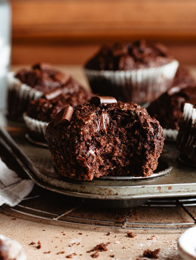 The inside of zucchini chocolate muffins