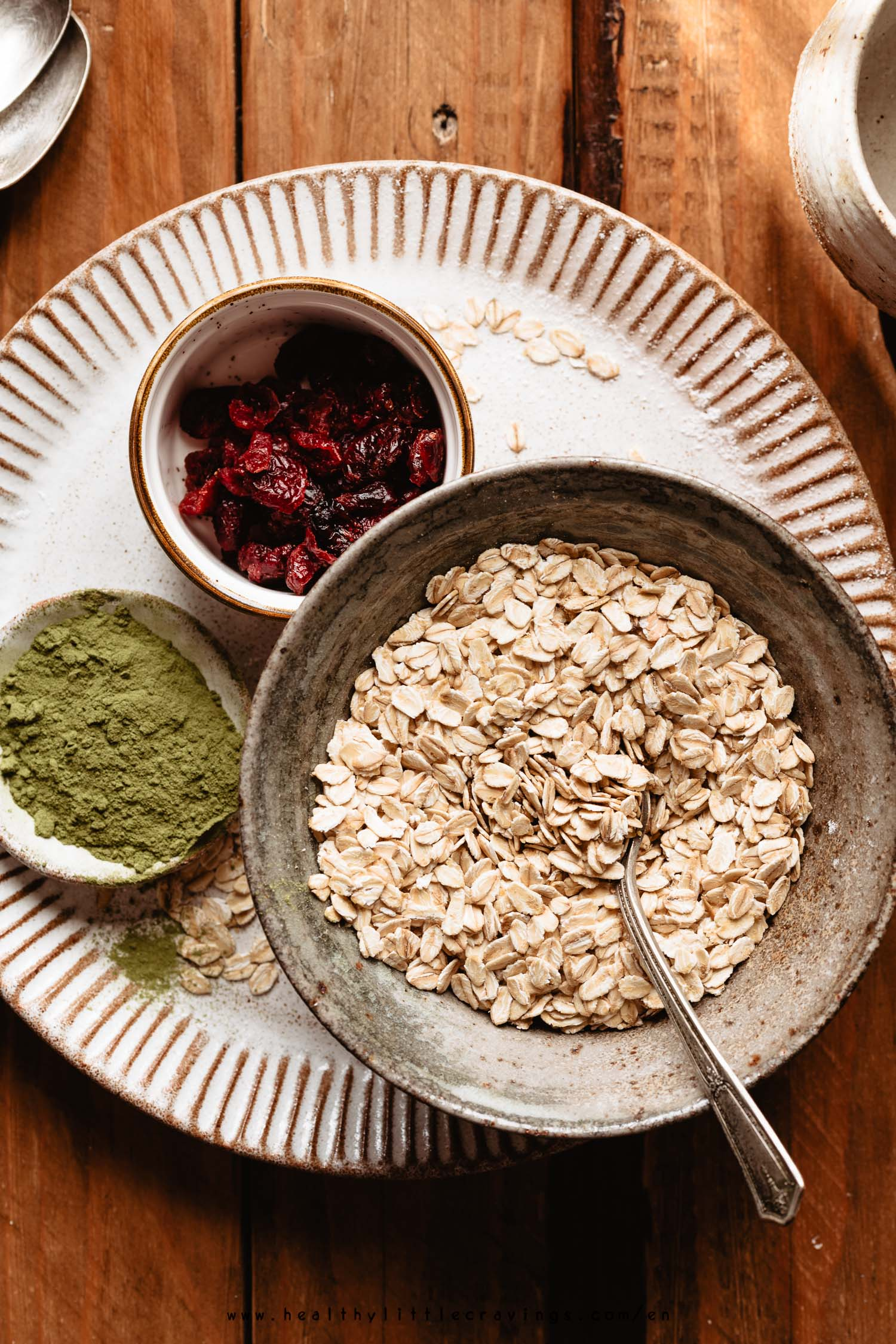 Ingredients for simple and quick matcha granola