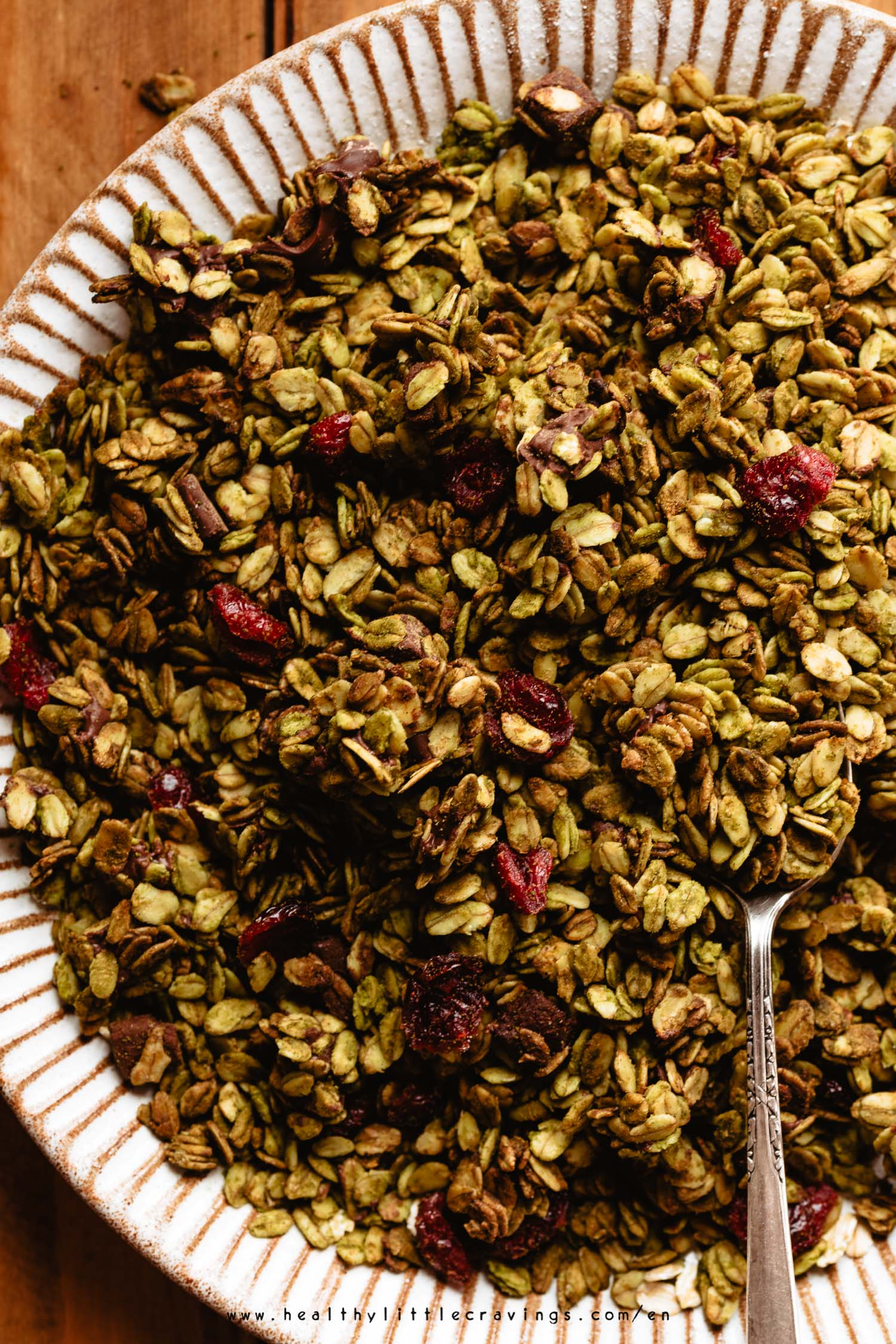 Matcha granola just right out of the oven