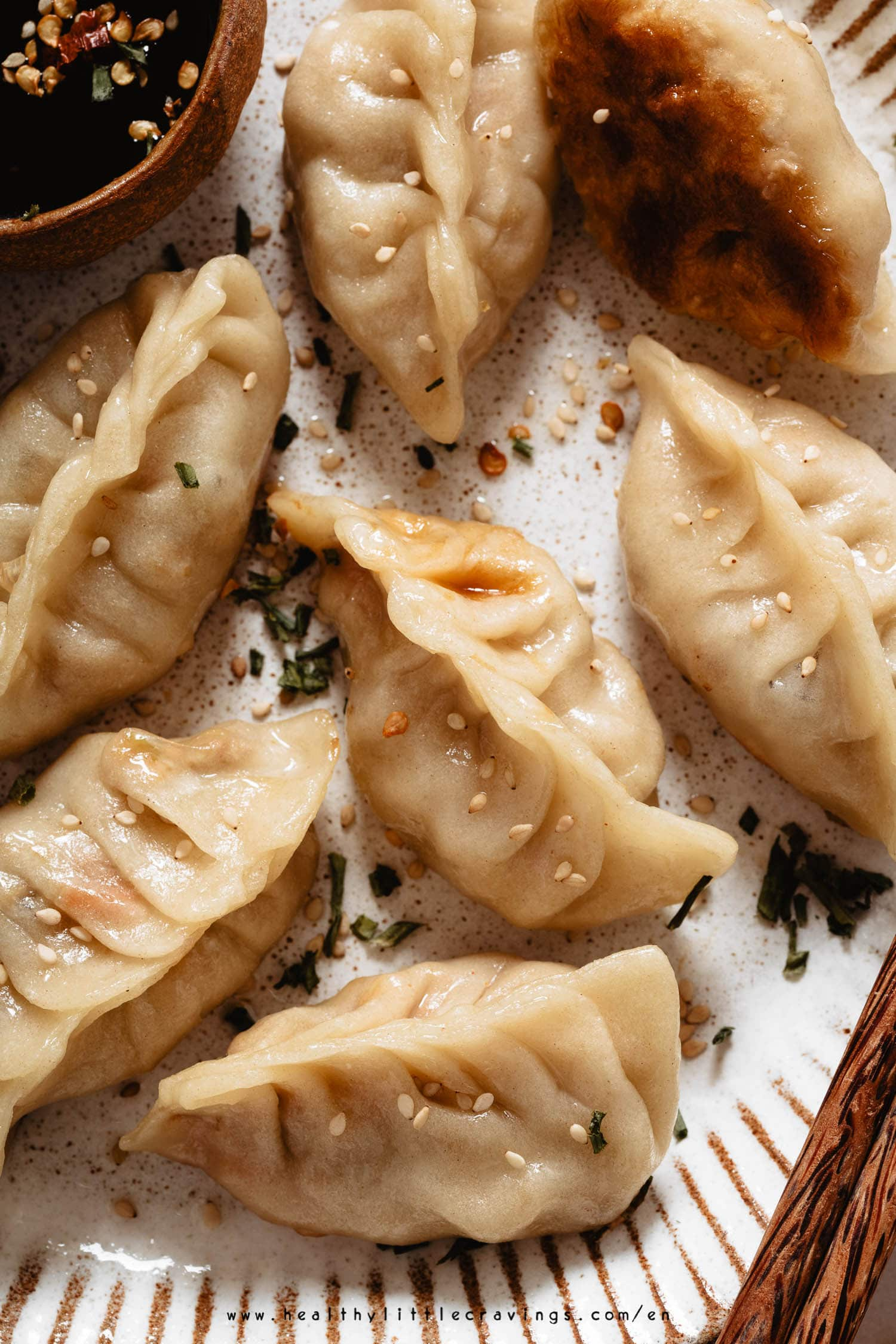 Macro photo of dumplings