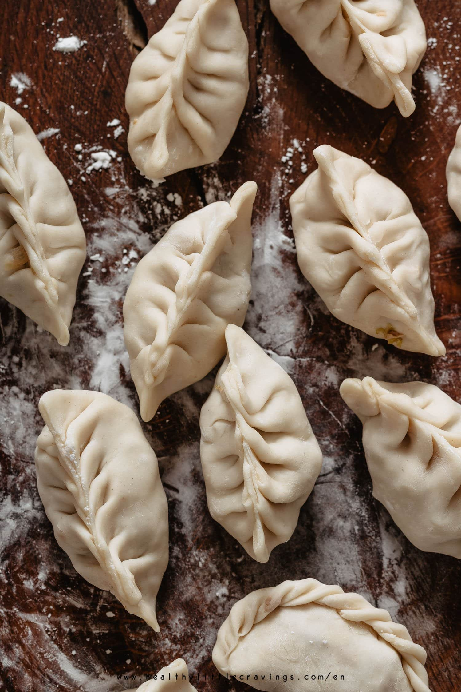 Perfect raw dumplings ready to be cooked