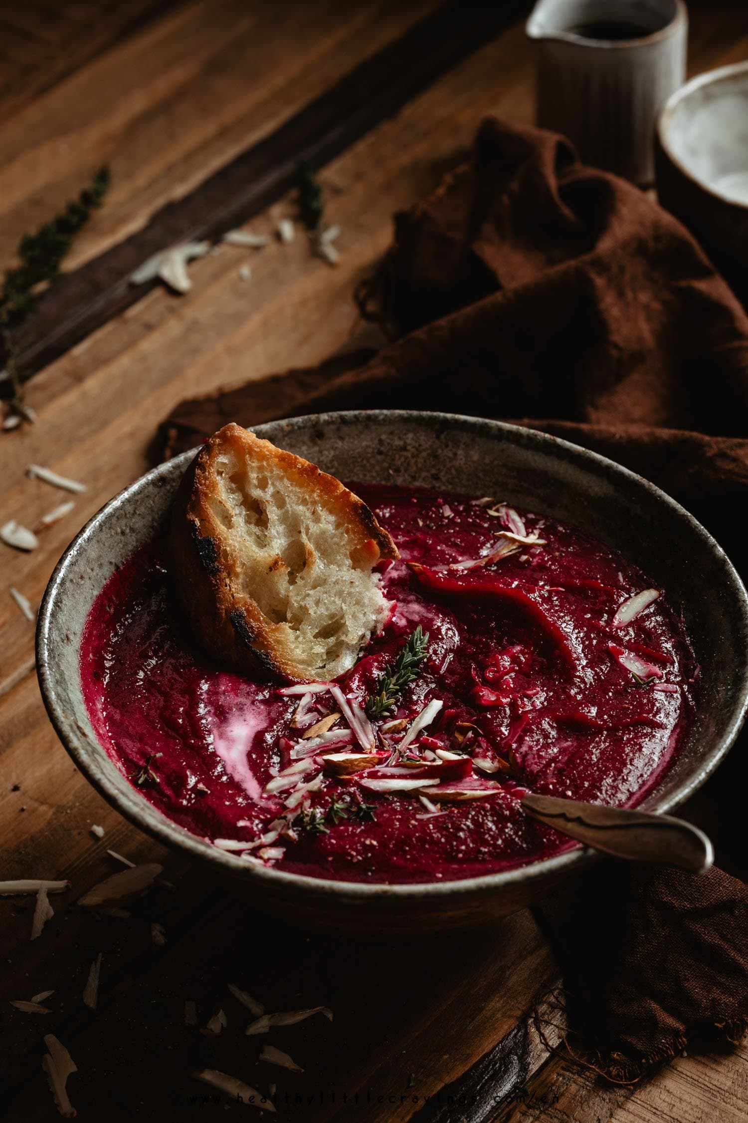 Wintery beetroot soup with ginger and balsamic vinegar