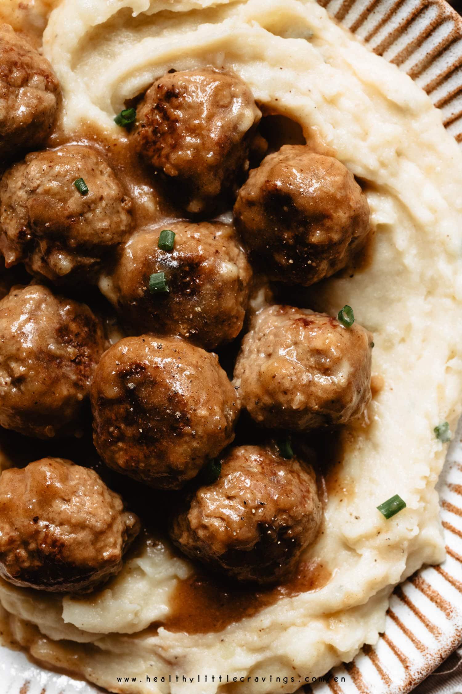 Swedish meatballs on mashed potatoes