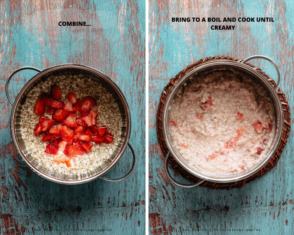 step-by-step how to make strawberry oatmeal